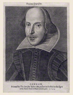 NPG D16530; William Shakespeare by Martin Droeshout, printed by  Thomas Cotes, printed for  Robert Allot